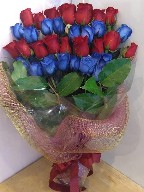 Three (3) dozen red and blue roses