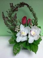 Cymbidium orchids, tulips, heather, and waxflowers