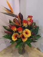 Roses, bird of paradise, gerberas, asiatic lillies, alstroemeria, and leucadendron
