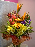 Bird of paradise, iris, gerbera, lillies, coffee beans, snapdragon, alstroemeria, and eucadendron