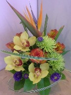 Bird of paradise, cymbidium orchids, spider mums, rose, alstroemeria, aster and monkey grass