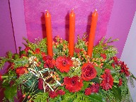 Gerbera, berries, roses, pine, carnations with Christmas decorations