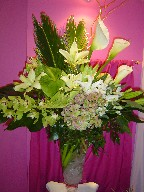 Calla lillies, sago, curly willow, anthurium, lillies, cymbidium and dendrobium orchids, hydreangea, alstroemeria, and monstera