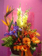 Bird of paradise, snapdragon, iris, kangaroo, gerbera, lillies, solidago, coffee beans, alstroemeria, and daisies