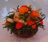 Mixed roses (3 doz.) and solidago in a basket