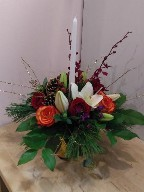 Roses, lillies, dianthus, monkara orchids, cones, pine, and Christmas branch
