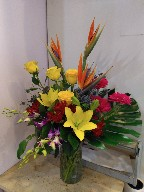 Bird of paradise, roses, gerbera, dendrobium orchids, asiatic lillies, thistle, alstroemeria, and monstera