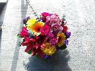 Cymbidium orchids, roses, asiatic lillies, gerbera, pompoms, statice, and eucalyptus