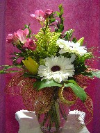 Gerbera, freesia, alstroemeria, and tulips