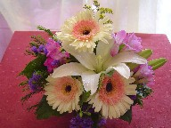 Gerbera, freesia, white lillies, statice, and solidago