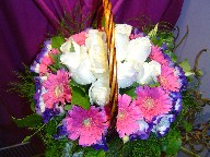 Gerbera, white roses and lisianthus