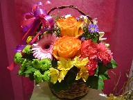 Roses, gerbera, carnations, monte casino blue, waxflowers, pompoms, alstroemeria, and lillies
