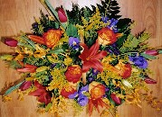 Sunshine roses, tulips. orchids, solidago, asiatic lilies, aster purple and iris